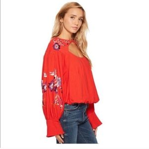 • FREE PEOPLE • NWT lita embroidered top